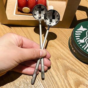 2021 populaire Starbucks acier inoxydable café cuillère petite dessert rond mélange cuillère cuillère usine