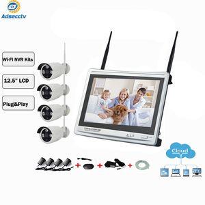 4CH 무선 NVR 키트 실제 플러그 앤 플레이 12.5 인치 LCD 스크린 모니터 비디오 실릴 빌란스 IP WiFi 보안 카메라 시스템 AS-NVK704
