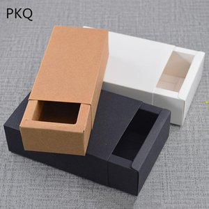 Multi Size Blank Kraft Paper Drawer Boxes Black Paperboard Packaging Box White DIY Handmade Soap Craft Party Gift Boxes 10pcs
