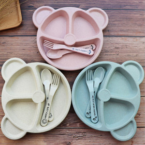 Cartoon Baby Kid Tableware Set Wheat Straw Dinnerware Feed Food Plate Dishes Bear Bowl Set With Spoon Fork ECO-friendly Tableware