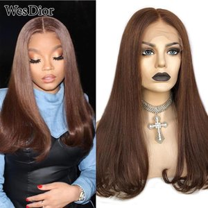Прямые человеческие парики волос Новая тенденция бразильский 4x4 кружевной парик для черных женщин плотность 180 сброшенная T части кружева человеческих волос парик реми