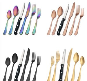 2021 24pcs set Matte Black Silverware Set With Steak Knives Stainless Steel Flatware Cutlery kits Service For 4pcs Hand Wash Recommended