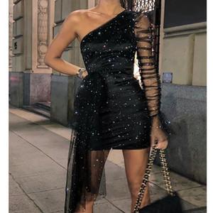 Vestido para mujer Un hombro Glitter Vestidos Sexy Asimétrico Sheer Malla Gauze Rruched Lace Long Manga Fiesta Club Nocturno Negro Mini vestido