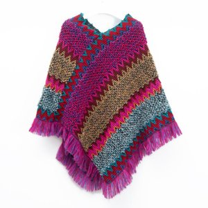 Winter Women Long Scarf Ladies Ethnic Style Retro Sassel Head Cape Thick Color Striped New Cashmere Shawl Scarf#G