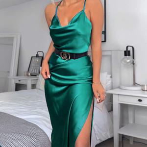 Channel new women's evening slim one step sexy split neck suspender dress summer