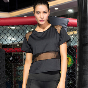 Yoga Shirts Women Mesh Stitching Suit Loose Casual Running Fitness Clothes Quick Drying Breathable Sports T-shirt Gym Sportswear