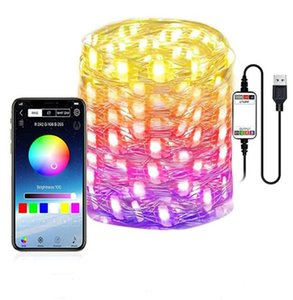 LED String Lights Smart Wi-Fi Remote App Bluetooth Control Home Multi-modes Color Changing Music Sync Marquee Strip Light for Christmas Tree Holiday Decoration