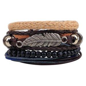 Новый стиль браслет орнамент многопартный комбинированный браслет ручной работы из кожи ручной работы деревянные бусины из бисера сплетенный браслет n Jllihk