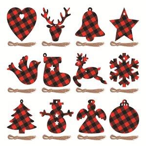 Wall Decor Christmas Decoration Red Black Lattice Design Xmas Ornament Tree Pendant Wood Grid Snowflake Hat Snowman Party Home