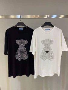 Las mujeres t shirts letras con la perforación caliente para la señora moda camisetas del oso patrón tshirts