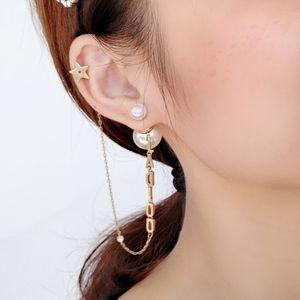 Special offer 70% OFF Luxury Jewelry letter Pearl ear clip one piece super fairy Earrings personality trend Wu Jinyan Wang Ziwen same style