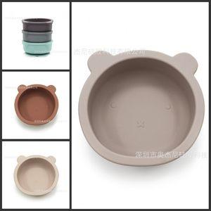 سيليكون السلطانية تغذية الطفل أدوات المائدة الدب شكل لوحة مع غير زلة مصاصة الرضع الطفل وعاء التغذية أطباق 309 Y2