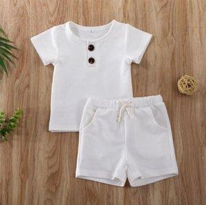 Yenidoğan Babys Kız Erkek Giysileri Nervürlü Pamuk Rahat Kısa Kollu Tops T-shirt + Şort Yürüyor Bebek Moda Yaz Kıyafet AHB5128