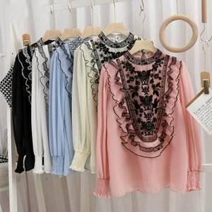 Elegante gancho arco flor bordado gasa mujer camisa collar cuentas de manga remendada larga blusa liberada primavera gp41