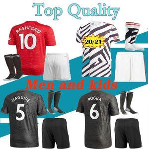 Adult Kids kit 20 21 POGBA soccer jersey 2020 2021 VAN DE BEEK B. FERNANDES RASHFORD LINGARD football shirt CAVANI boys kits