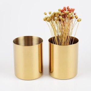 Stainless Steel Gold Round Port Flower Vase Cylinder Pen Holder Rose Vases Multifunction Storage Pencil Barrel Garden Decoration LLA9044