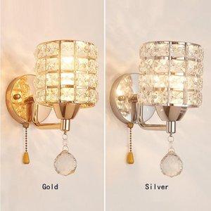 1 pcs grande interruptor de tração de lâmpadas de parede de cristal iluminação interna para quarto quarto pendurado luzes corredor luzes de parede para casa