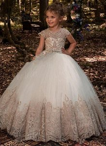 Girl's Dresses Flower Girl White Feather Organza Formal Party Birthday Pageant Gown Vestido