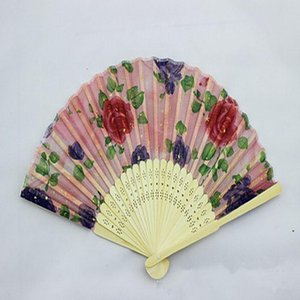 Folding Fans Flower Printing Hand Design Bamboo Folding Fans Festival Events Supplies Wedding Gifts Favors Arts Crafts DHC6183