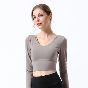 Lulu Same Autumn and Winter New Women's Suit Sports Long Sleeve Cross Back Yoga T-shirt with Bra