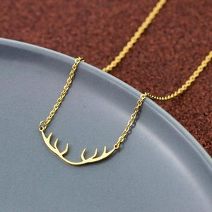 V Attract Minimalist Deer Horn Pendant Necklace Women Elegant Accessories Stainless Steel Link Chain Jewellery