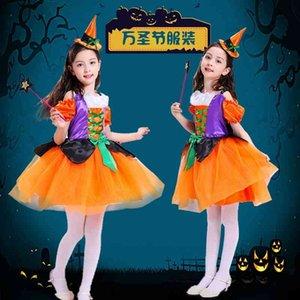 Halloween children's costume Princess masquerade ball little witch lovely girl elf pumpkin dress