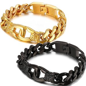 Link, Chain Heavy Punk 15mm Cuban Link Bracelet Jewelry High Quality Stainless Steel Men Accessories Jewellery