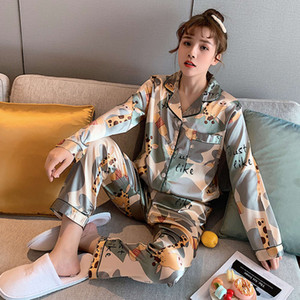 Silk Ladi Cute Women Satin Pajamas Pyjamas Set Sleepwear Womens Sleeve Nightwear Pj Sets Top and Long Pants Pijama Suit