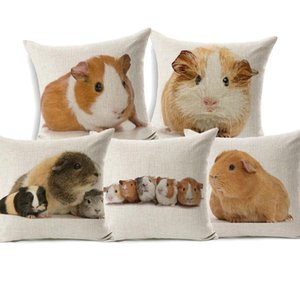 Cushion Decorative Pillow Guinea Pig Cushion Cover Lovely Animal Cavia Cobaya Hamster Covers Decorative Linen Pillowcase For Sofa Couch Seat