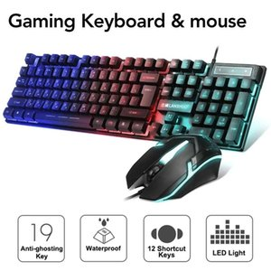 Ergonomic Gaming Keyboard Mouse Combo USB Wired Keybord Gamer Kit Waterproof LED Rainbow Backlight Keyboard And Mouse Set For PC