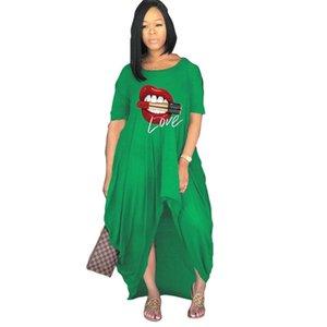 S-4XL Düzensiz Bölünmüş Uzun Elbise Kadın Annelik 2021 Tiktok Yaz Elbiseler Parti Plaj Kulübü Genel Boy Gevşek Tek Parça Etek Giyim G65worh