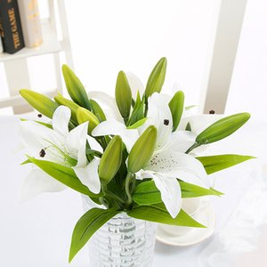 3 Heads Real Touch Artificial lily Flowers Wedding Bridal Silk Fake flower Bouquet white lily Plants Christmas Home Party Decor