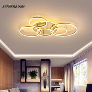 Modern LED Chandelier For Foyer Living Dining Room Bedroom Indoor Home Ceiling Chandelier Lighting Gold&White&Coffee Led Lustres