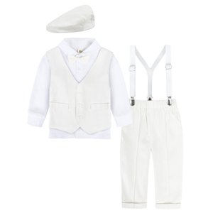 Baby Suit Infant Formal Outfit Newborn Gentleman Long Sleeve Overalls Toddler Birthday Wedding Party Gift Costume 4PCS