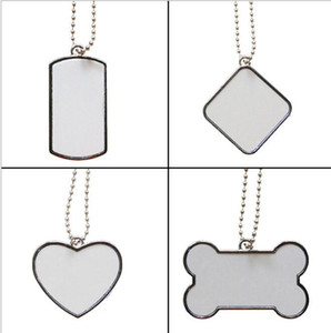 2021 NEW Sublimation DIY Blank White Stainless Steel Dog Tag Pendants Mix Style