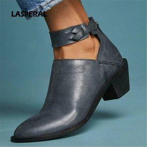 Lasperal Faux замшевые сапоги женские моды ежедневно коренастый каблук ZIP обувь дышащая женская удобная обувь весна PU кожи 74y1 #