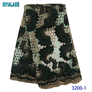 Ribbon African French Lace Fabric 2021 Velvet Nigerian Net Embroidered Laces With Sequins Stones For Party KS32001