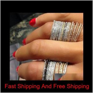 Sweet Cut Simple Fashion Jewelry 925 Sterling Silver&Rose Gold Fill Pave White Sapphire Cz Diamond Eternity Women Wedding Band Ring Ji Xamjt
