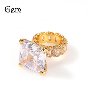 18K Gold Plated Hip Hop Rings Brand Design Iced Out Cool Mens Diamond Ring Bling Cubic Zirconia Hip Hop Jewellery 209 U2