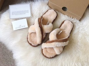 2021 Real Fur Slippers Slides Shoes Furry Fuffly Slipper Flip Flops Sandals Sliders Drag Sandal Summer Shoes Women gpz19803