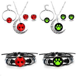 8pcs set Miraculous Ladybug Cat Noir Pendant Necklace and Bracelet Earrings Set For Birthday Party Gift