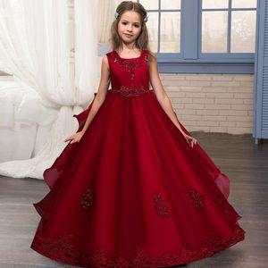 2021 Vintage Costume Prom Kids Dresses For Girls Children Flower Princess Petal Dress Party Wedding Dress Girls Clothes 10 12 Y C0220