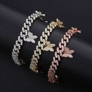 High Quality Designer Necklace Women Designer Bracelets Fashion Jewelry Hip Hop Iced out Cuban Link Chain Rapper Charms Bling Diamond Bangle