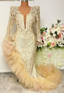 Aso Ebi 2021 Arabic Gold Mermaid Sexy Evening Dresses Lace Beaded Prom Dresses High Split Formal Party Second Reception Gowns ZJ595