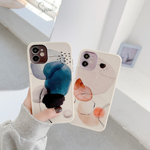 Retro Oil Painting Art Flower Leaves Phone Case For iPhone 12 11 Pro Max XR XS Max 7 8 Plus Soft Silicone Camera Protect Cover