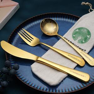 Starbucks Stillware Seats Tableware 304 Нержавеющая сталь Западный Стейк Нож Ужин Ложка Вилка Набор