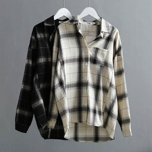 Fall Winter Cotton Plaid Women Blouse Shirt 2021 High Quality Casual Office Womans Shirts Large Size Plaids Tops White Black