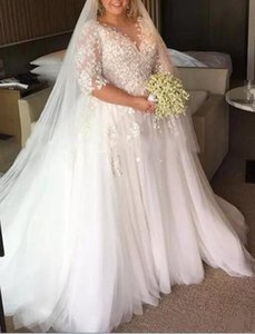 Half Sleeve Plus Size Wedding Dress Sheer Neck Flower Appliques Lace Tulle A Line Floor Length Bridal Gowns Custom Size 2021