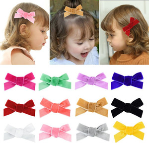 Girls Hairpins Velvet Ribbon Bow Clips DIY Baby Children Hair Pin Cute Hairgrip Kids Barrette Hair Accessories 12 Colors DW6452