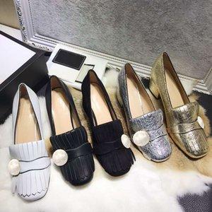 Высококачественные женские модные кожаные круглые головы кисточка среднего каблука алмаз толстый каблук комфортный темперамент пряжка женские одежды обувь